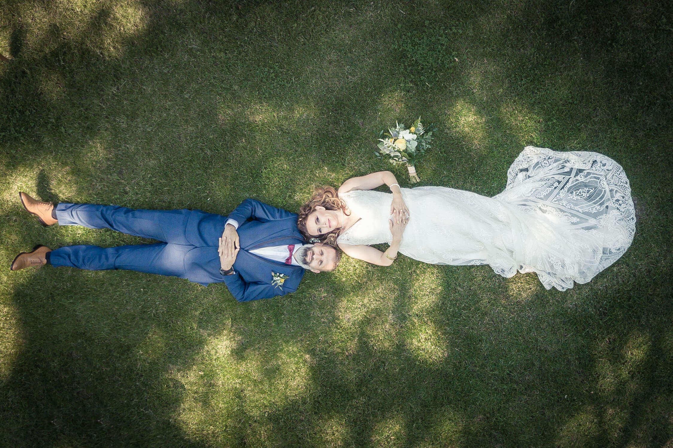 photo drone de mariage au domaine du Kaegy en Alsace