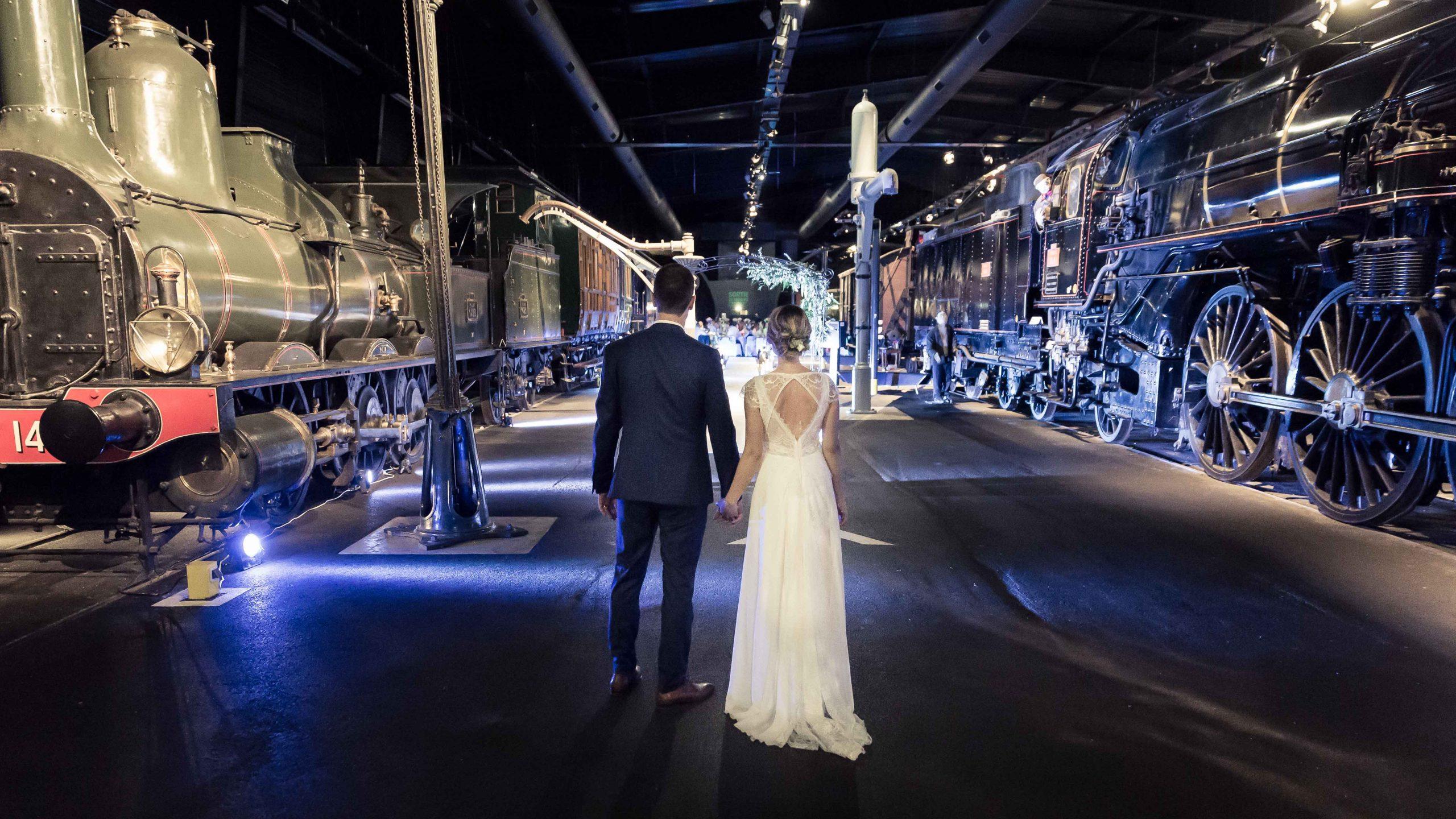 début de soirée à la cité du train lors d'un mariage